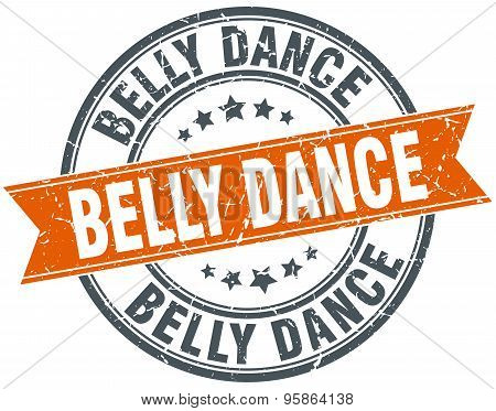 Belly Dance Round Orange Grungy Vintage Isolated Stamp