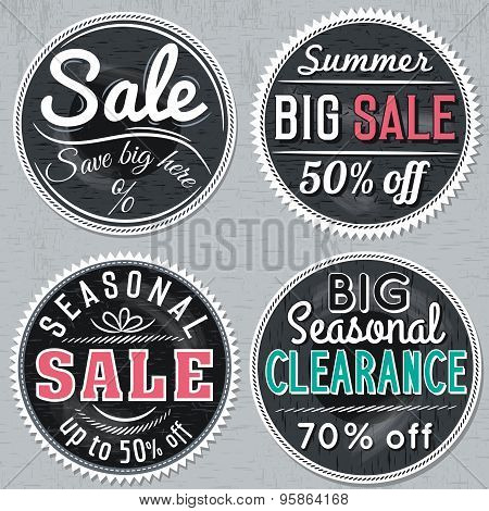 Black Round Banners With Sale Offer, Vector