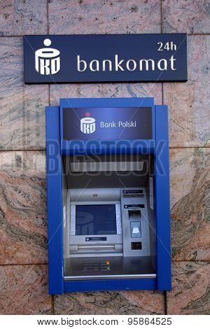 WARSAW, POLAND - SATURDAY, JUNE 6, 2015: A cash machine, ATM, for Bank Polski. Powszechna Kasa Oszczednosci Bank Polski Sp���³lka Akcyjna is Poland's largest bank.