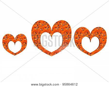 Textured Heart-shaped Photoframe Set In Orange