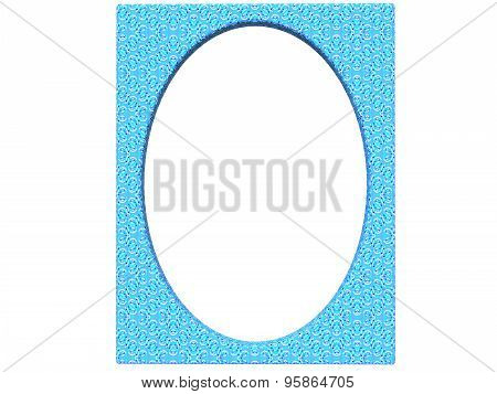 Textured Oval Photoframe 3D Render In Blue