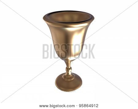 Goblet Render In Gold With Reflection