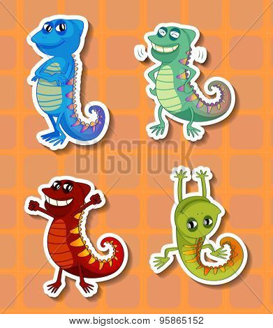 Stickers of four different colorful chameleons