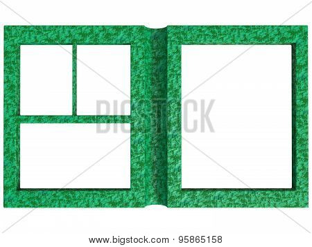 Textured Folding Photoframe Book Render In Green