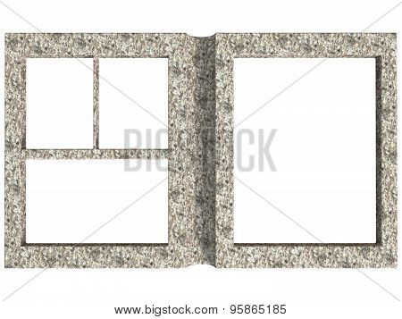 Textured Folding Photoframe Book Render In Gray