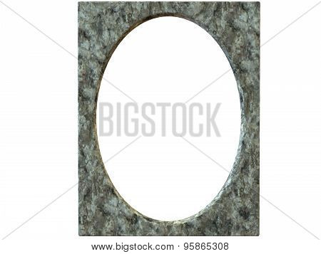 Textured Oval Photoframe 3D Render In Gray
