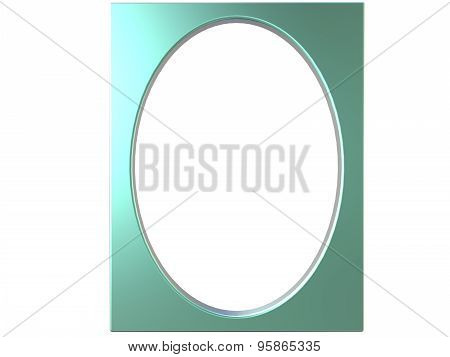 Oval Photoframe 3D Render In Green