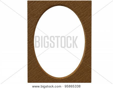 Textured Oval Photoframe 3D Render In Brown