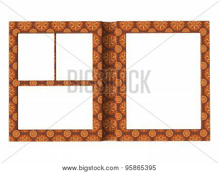 Textured Folding Photoframe Book Render In Brown