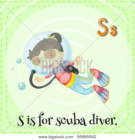 Flashcard of alphabet S is for scuba diver