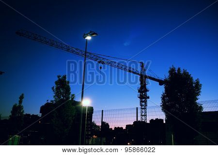 The Industry Crane Working At Night