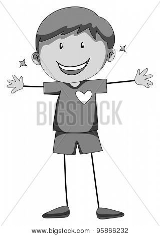 Happy boy standing alone with arms stretched out