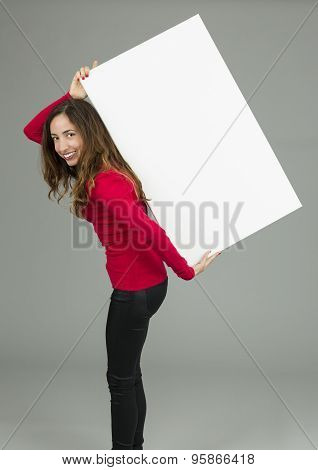 Woman Carrying Blank Billboard On Her Back