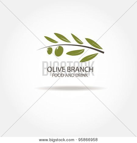 Olive Branch Logo design vector template. Agriculture, Farm,  Olive oil, Restaurant Logotype concept icon.