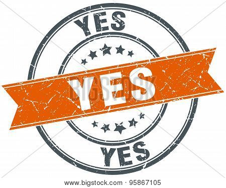 Yes Round Orange Grungy Vintage Isolated Stamp