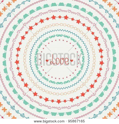 Hand drawn vector colorful line border, frame set and scribble design element. Hipster vintage fashi