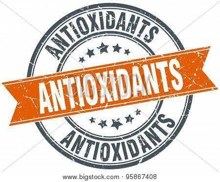 Antioxidants Round Orange Grungy Vintage Isolated Stamp
