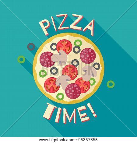 Pizza time banner poster template illustration.