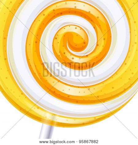 Yellow and white big lollipop spiral candy background.