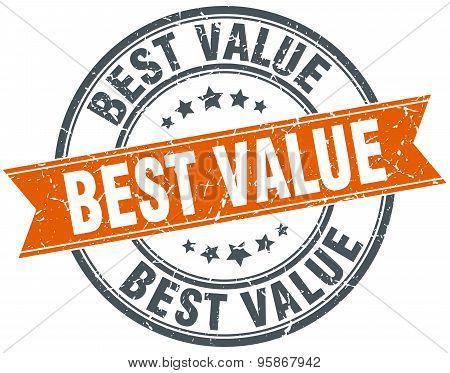 Best Value Round Orange Grungy Vintage Isolated Stamp