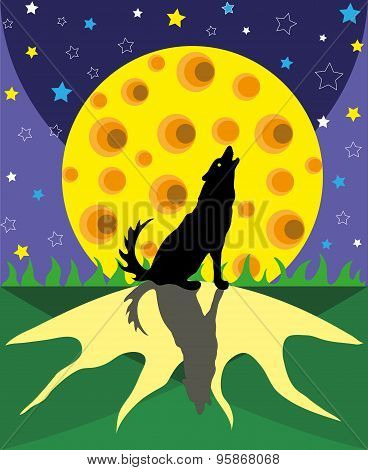 Wolf and big moon.