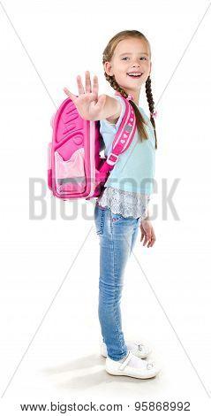Smiling Schoolgirl With Backpack Saying Good Bye