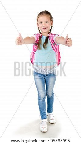 Happy Schoolgirl With Backpack And Fingers Up