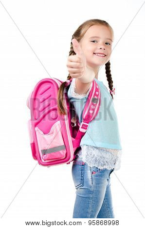 Happy Schoolgirl With Backpack And Finger Up