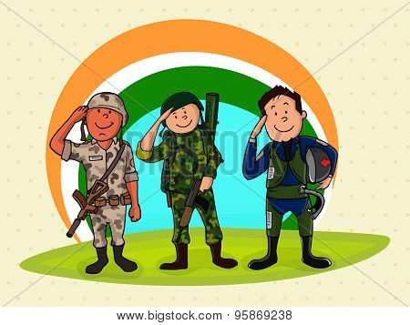 Illustration of saluting Indian force officers in uniform on national tricolor background for Independence Day celebration.