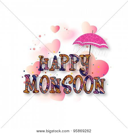 Colorful floral text Happy Monsoon under an umbrella on shiny pink hearts decorated background, can be used as poster, banner or flyer design.