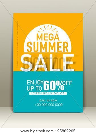 Mega summer sale flyer with 60%  off  with address bar and place holder.