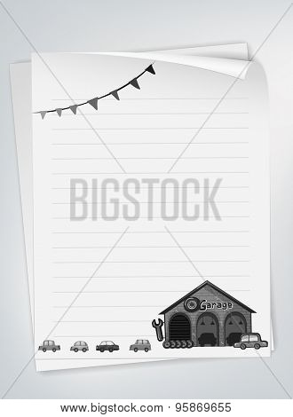 Letter pad with garage and cars design in black and white