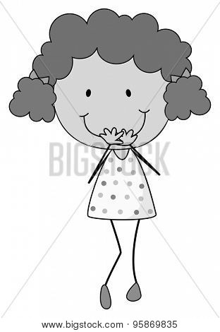 Girl standing alone giggling in black and white