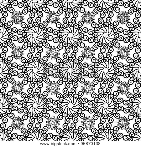 Black And White Background With Seamless Pattern In Islamic Style