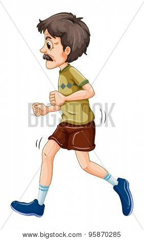 Old man jogging alone on a white background