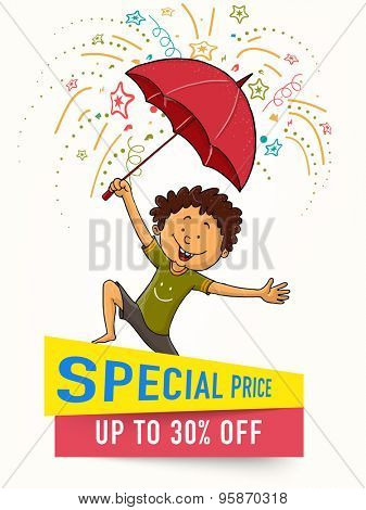 Stylish template, banner or flyer design with cute little boy under umbrella for Monsoon Season Sale.