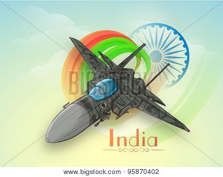 Creative fighter plane making national flag colors in the sky with Ashoka Wheel on cloudy background for Indian Independence Day celebration.