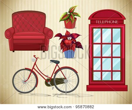 Bicycle and other things in red color