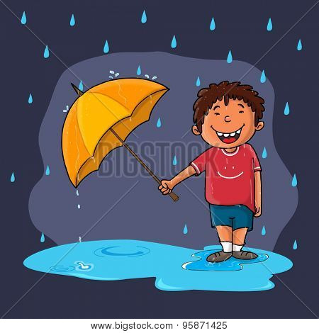 Cute little boy holding an open umbrella and standing in rains on purple background, Creative illustration for Monsoon Season.