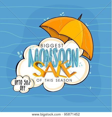 Biggest Monsoon Sale of this season with 50% discount offer, Creative poster, banner or flyer design with umbrella on blue background.