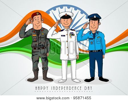 Illustration of saluting army officers on national flag color waves and Ashoka Wheel background for Indian Independence Day.