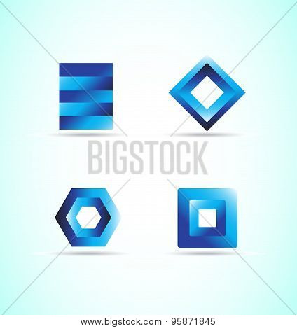 Blue Logo Design Elements Icon Set