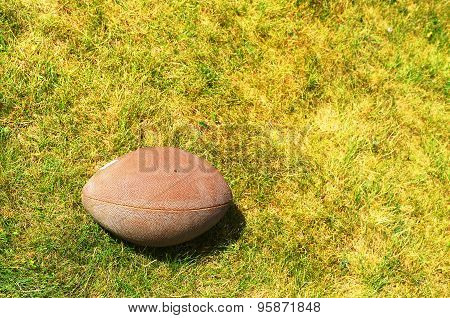 Ball for American football on the yellow-green grass