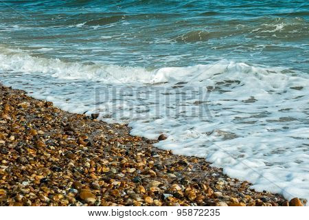 Waves lapping on a beach