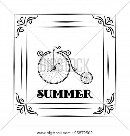 Vintage Background And Frame Withsummer Travel Design - Bicycle. Hallo Summer