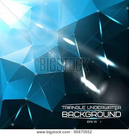 Abstract triangle underwater background with bright lights and flares. For presentations, websites e