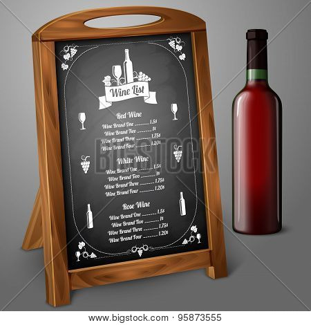 Menu template on chalkboard - for alcohol with realistic red wine bottle