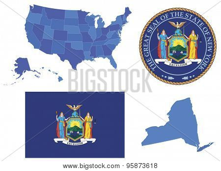 Vector Illustration of New York state, contains: High detailed map of USA High detailed flag of New York state High detailed great seal of New York state State New York, shape