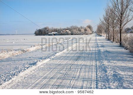 Snowy Farmland In The Netherlands