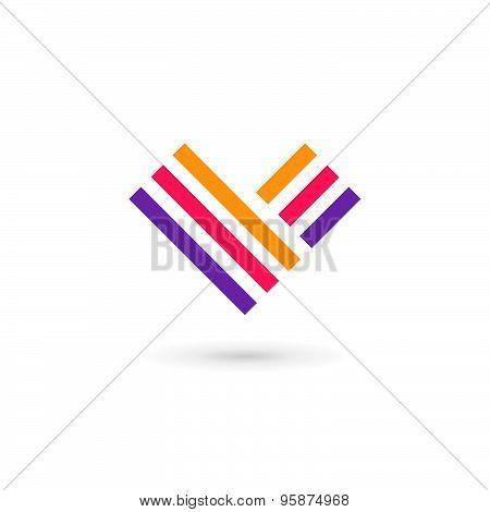Letter V Heart Logo Icon Design Template Elements
